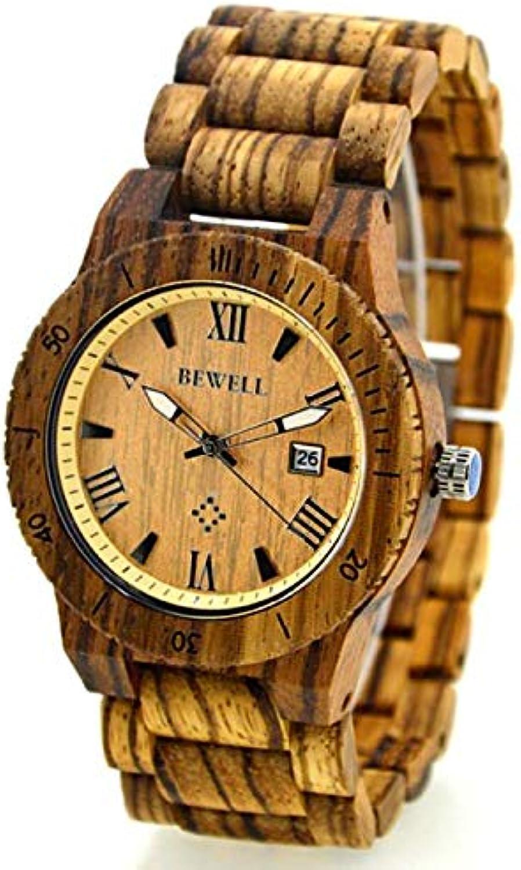 RedBrowm Men's Natural Wooden Wristwatch Wood Watch Quartz with Date + Box