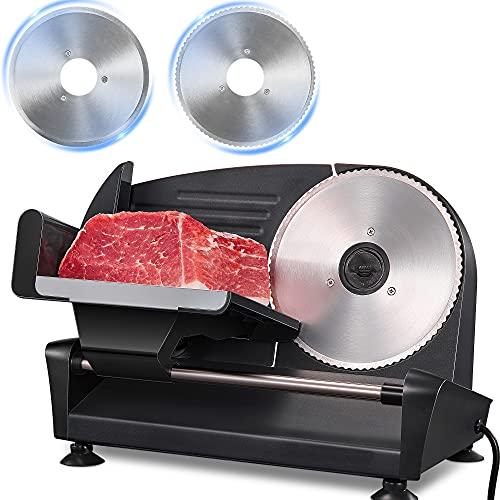 Allesschneider - 200W Brotschneidemaschine Elektrischer mit Zwei * 19cm Edelstahlklingen, Wurstschneidemaschine mit Verstellbare Küchenmaschine 0 bis 15mm für Fleisch/Brot/Obst/Wurst