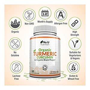 Turmeric Curcumin Organic High Strength 600mg, 365 Capsules with Organic Black Pepper   Suitable for Vegetarians & Vegans   Soil Association Certified, Made in The UK by Nu U Nutrition