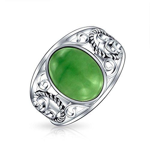 Boho Oval Verde Jade Teñido Cuerda Filigrana Desplazamiento Mujer Anillo Plata Esterlina 925 Agosto Piedra Nacimiento