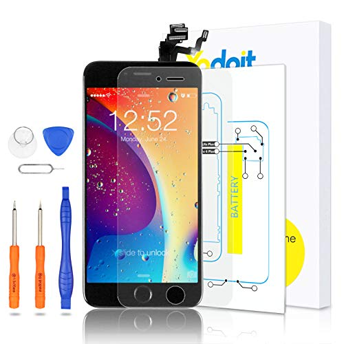 Yodoit Completo Display per iPhone 6 Plus LCD e Assemblaggio Digitalizzatore Touch Screen in Vetro Sostituzione (con Home Pulsante, Fotocamera, Sensore Flex) Utensili Inclusi (5,5 Pollici Nero)
