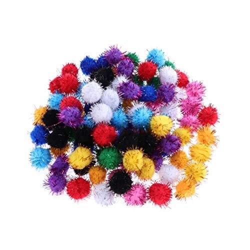 Colar com mini pompons de glitter Amosfun 200 peças artesanato para artesanato em artesanato de artesanato de arte faça você mesmo decorações de árvore de Natal ornamentos chaveiros 3 cm