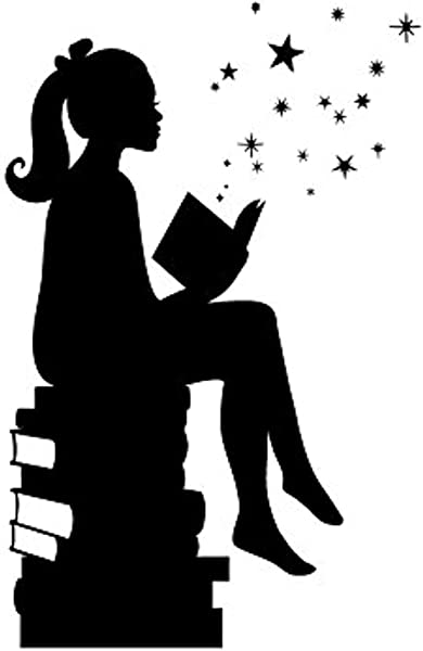 Wall Vinyl Decal Girl Reading Books Magic Facing Right Art Homes Offices Kids Rooms Nurseries Schools Schools Colleges HDS8181