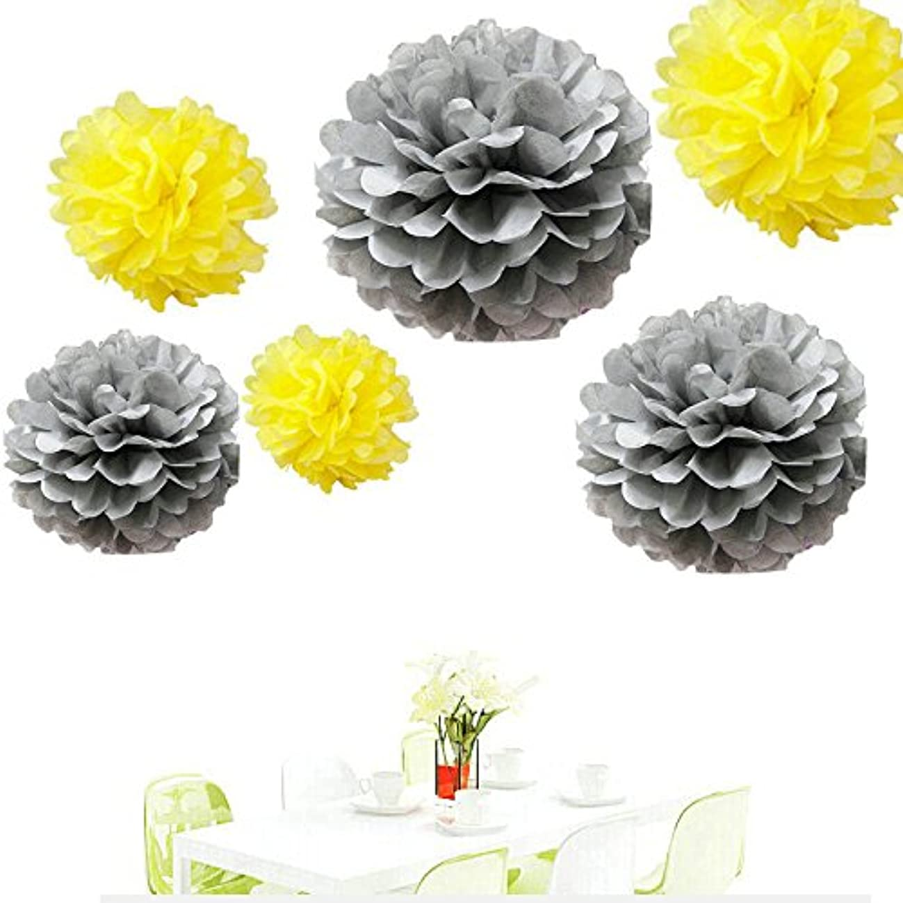 Since ? 12pcs Mixed Sizes Silver and Yellow Tissue Paper Pom Pom Pompoms Wedding Birthday Party Decorations Kids Holiday Supplies