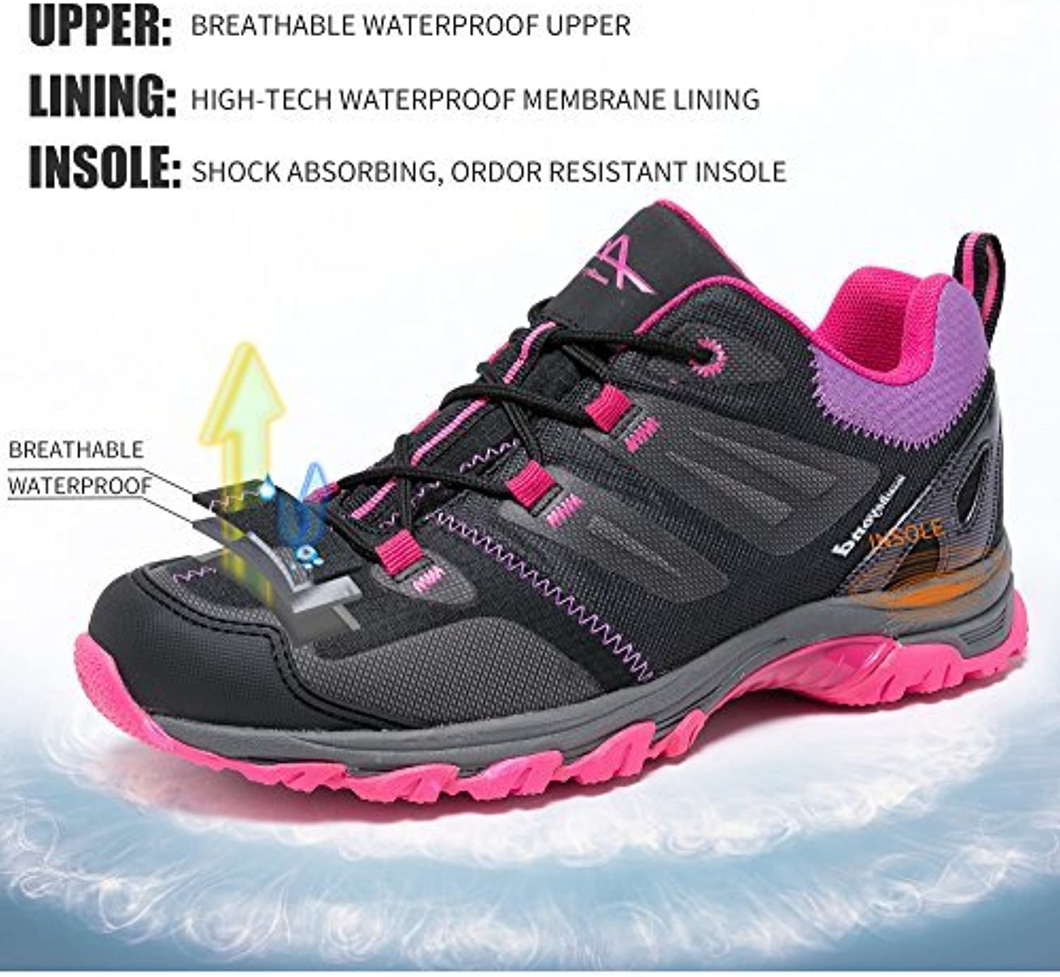 Mountbeyond Womens Waterproof Hiking shoes Outdoor Breathable