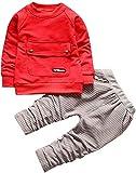 ShangSRS 2-5 años Niño Niña Oso Rayado Patrón Tops Pantalones Otoño/Invierno Ropa Conjuntos (Rojo, 110)