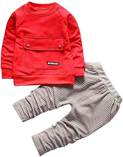 ShangSRS 2-5 años Niño Niña Oso Rayado Patrón Tops Pantalones Otoño/Invierno Ropa Conjuntos (Rojo, 100)