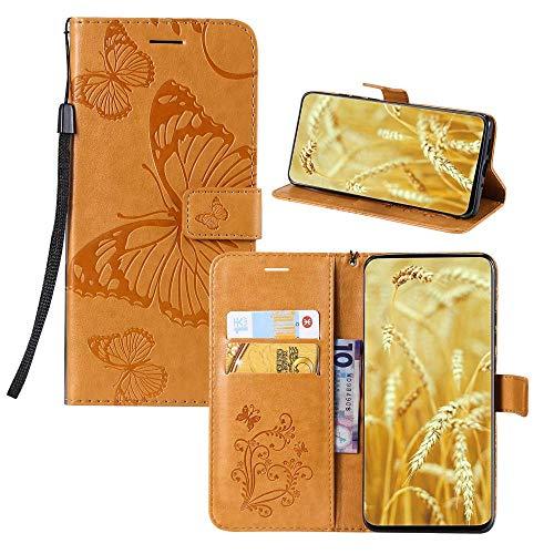 JZ Capa carteira com borboleta 3D em relevo para Sony Xperia XZ2 Premium Capa protetora para celular [magnética e alça de pulso] - Amarela