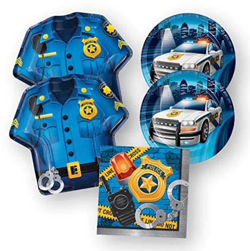Police Party Supplies Birthday Retirement Baby Shower Plates Napkins (48 Piece)