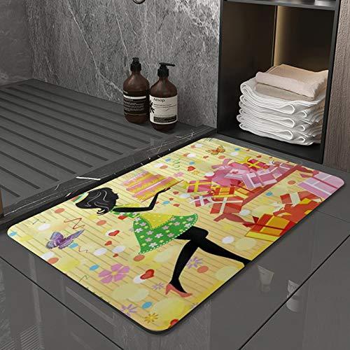 La Alfombra de baño es Suave y cómoda, Absorbente, Antideslizante,Fiesta única Mujer con Estampado de Pastel de cumpleaños,Apto para baño, Cocina, Dormitorio (40x60 cm)
