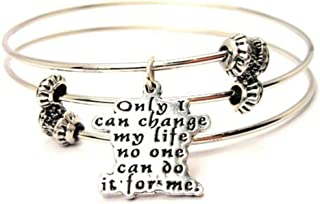 ChubbyChicoCharms Only I Can Change My Life No One Can Do It for Me Expandable Wire Triple Style Bracelet, 2.5