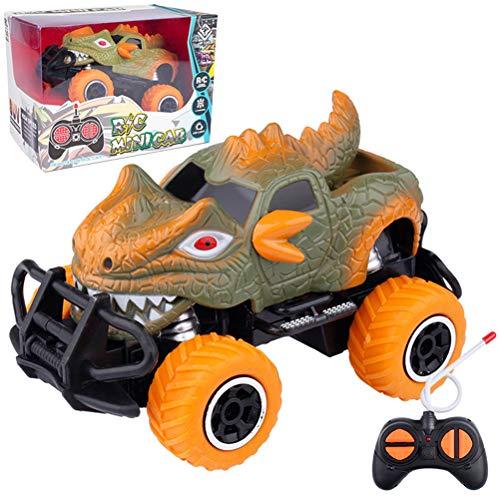 Huemny Coche de control remoto de 4 canales Mini Dinosaurios Crashworthy Dinosaurs RC Coche adecuado para 3 años de edad y más
