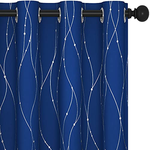 Deconovo Thermal Insulated Blackout Curtains for Bedroom and Kids Room, Set of 2 - Sun Blocking Window Curtains for Home Decoration (52 x 84 Inch, Royal Blue, 2 Panels)