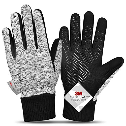 -20℉ Winter Gloves Knitted Gloves,3M Thinsulate Windproof Touch Screen Warm Gloves - for Driving,Cycling,Riding,Running, for Women and Men-M
