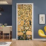 Adesivi per Porte Interne 3D PVC Impermeabile Autoadesivo Rimovibile Creative Arte Sticker 3D Buccia e Bastone Adesivo di Porta Per la decorazione domestica Albero di Gustav Klimt 77x200cm