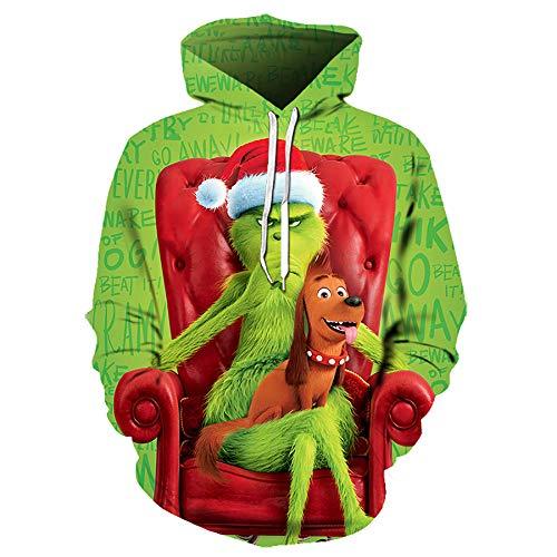 Zaima 3D-Druck Sweatshirt Hip Hop Streetwear Mantel Hoodie Herren Mode Casual Funny Herren Hoodies Kleidung Green Fur Monster Sweater Weihnachten