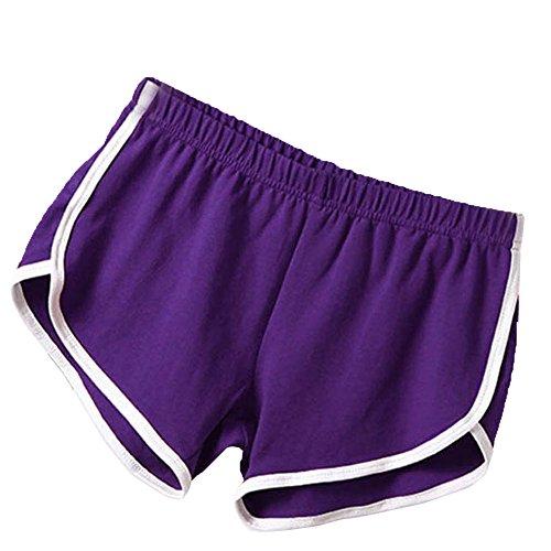 Soly Tech Women Summer Sports Shorts Gym Workout Waistband Skinny Shorts Pants (US4-6/Tag M, Purple)
