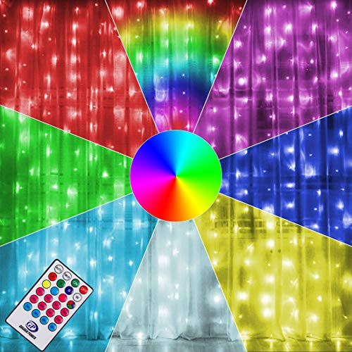 Twinkle Star 300 LED Window Curtain Lights, Christmas Rainbow RGB Color Changing 64 Functional Backdrop Light with Remote, Colorful Icicle String Light for Wedding, Party, Outdoor Indoor Decor