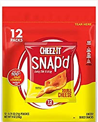 Cheez-It Snap'd Cheese Cracker Chips, Thin Crisps, Lunch Snacks, Double Cheese, 9oz Bag (12 Packs)
