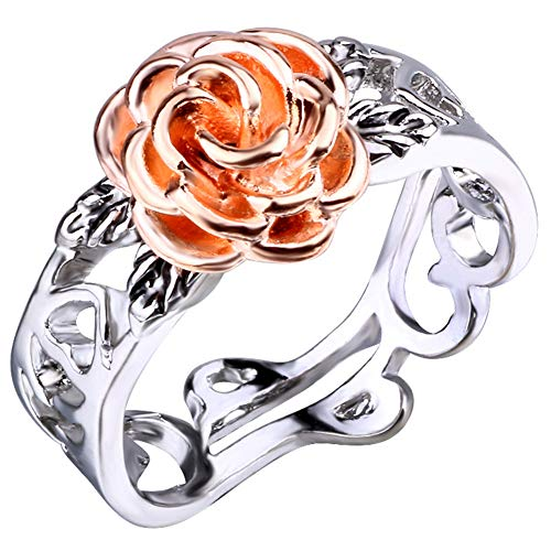 Yagerod Forever Silver Rose Ring, Heart Cutwork Design Rose Golden Ring, 2 Colors Flower Rings, Beauty and Everlasting Love Jewelry Gift for Women & Girls 2021 New Hot (8)