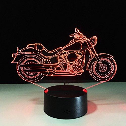 3D Motorrad Glühen LED Lampe 7 Farben erstaunliche optische Täuschung Art Skulptur Ferneinstellung Lichter produziert einzigartige Lichteffekte und 3D-Visualisierung für Home Decor-kreative Geschenk