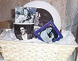 Gift Basket Elvis Ceramic Coffee Mug Plate Tin Ornament Hot Cocoa Wicker Basket