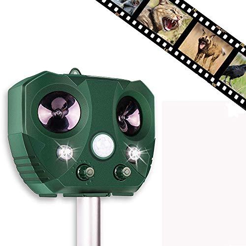 Sinicyder Ahuyentador de gatos por ultrasonidos, resistente al agua, repelente por ultrasonidos, luz intermitente, sonido, solar y USB, 5 modos ajustables para gatos, pájaros, perros, plagas