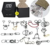 High Difficulty - 12 Pieces Metal Wire Brain Teaser - Assembly & Disentanglement Puzzles Toys - Magic Trick Toys Puzzles Set - Ideal Gifts Kids Adults (Set D)