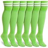 Green Knee High Soccer Socks (Unisex, Large, 3 Pairs)