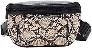 TOOGOO Serpentine Fashion Women's Waist Packs Brief Chest Bag Zipper Belt Bag for Women Ladies Fanny Bags Travel Bum Bags Khaki