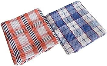 Bombay Dyeing Waffle Cotton Bath Towel(72cm x 144cm), 2 Pieces- Blue/Orange