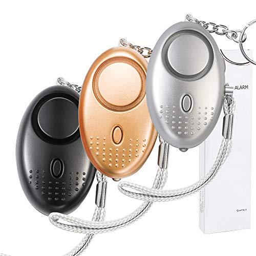 Persönlicher Alarm 140 db (3 Stück) Taschenalarm mit Taschenlampe Schlüsselanhänger Panikalarm Selbstverteidigung Sirene Personal Alarm für Frauen Kinder Mädchen Alter Mann (Gold, Silver, Schwarz)