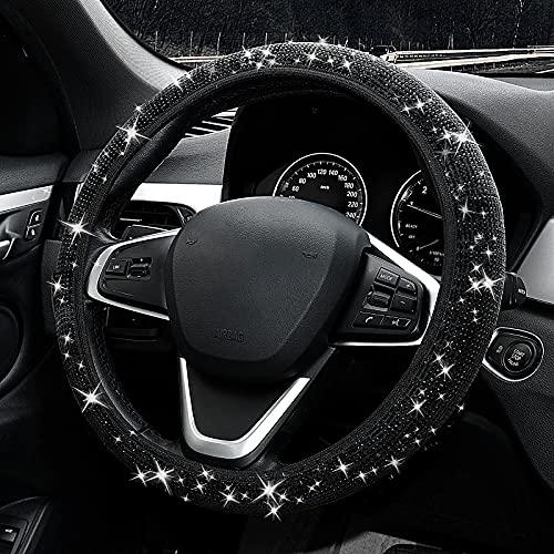 Clarb Black Bling Rhinestones Shiny Car Steering Wheel Cover for Women,Universal Non-Slip Bling Velvet Car Accessories(14-15' Fit for Most Car)
