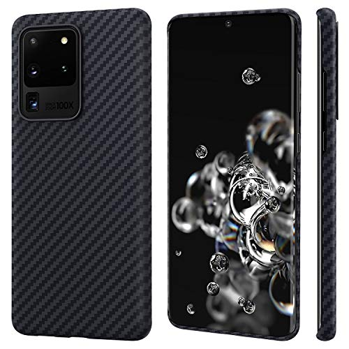 PITAKA 100% Aramid Fiber Phone Case for Samsung Galaxy S20 Ultra 6.9inch Minimalist MagEZ Case Magnetic System[Body Armor Material]Thin Durable Perfectly Fit Cover Carbon Fiber Look-Black/Grey(Twill)