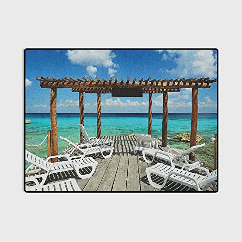 Travel Laundry Collection Area Rug Beach Sunbeds Ocean Sea Scenery with Wooden Seem Pier Image Print Baby Easter Gifts Blue White and Pale Brown 6 x 8.8 Ft