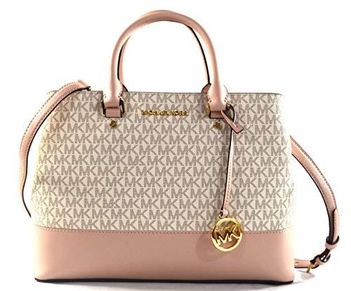 Michael Kors Savannah MK Logo PVC Saffiano Leather Large Satchel Crossbody Bag Purse Handbag, Scarlet (Vanila/Ballet)