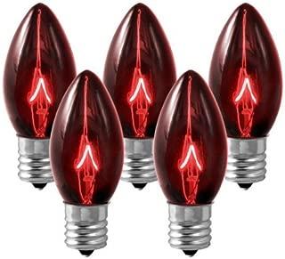25 Bulbs C9 - Red Transparent - Triple Dipped - 7 Watt - Intermediate Base - Christmas Lights - HLS C97WRED