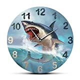 LWXJK Hungry Gran tiburón blanco reloj de pared para habitación de los niños Sea Lift Art Decoración del hogar Ocean Animal Acuario Silencioso No Ticking Wall Watch 30x30cm