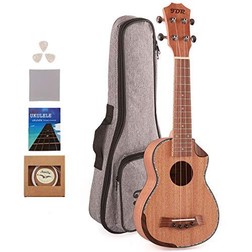JDR Sopran-Ukulele Mahagoni 21 Zoll Kleine Hawaii-Gitarre mit Carbonsaiten Schutztasche und...