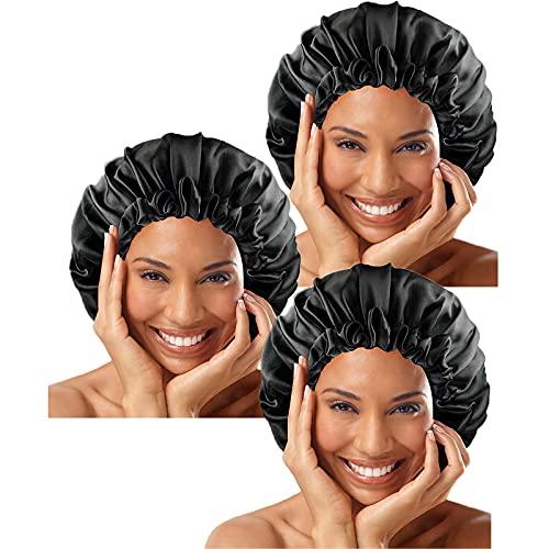 VEGCOO 3 Pièces Bonnet Satin Cheveux Nuit, Chapeaux de Sommeil, Couche Double Bonnet en Soie, Bonnet de Couchage en Satin, Bonnet De Sommeil Réglable avec Cordon pour Femmes Filles (A-Noir(3pcs))