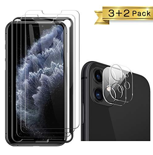 TOPACE für iPhone 11 Panzerglas(3)+Kamera Panzerglas(2), Display und Kamera schützen, 9H Härte Panzerglas Schutzfolie, HD Klar Anti-Kratzen, Blasenfrei Glas Displayschutzfolie für iPhone 11