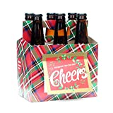 Holiday Beer Lovers Gifts - 6 Pack Beer Carrier Greeting Cards (Set of 4) in Holiday Plaid Design - Best Christmas Gifts for Men, Office Christmas Party, Corporate Holiday Gifts, Holiday Gifts for Dad