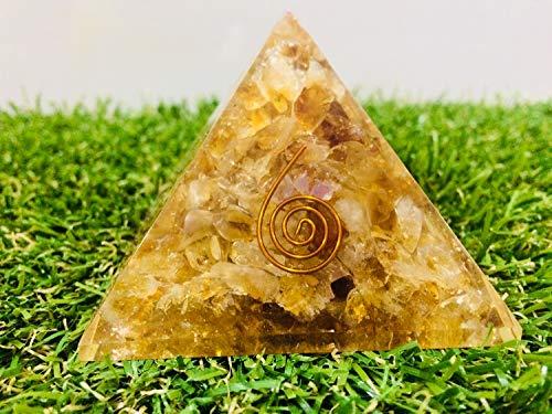 ZAICUS Citrine Orgone Crystal Gemstone Pyramid Energy Generator Gemstone for Aura Cleansing Chakras Balancing & Reiki Healing for Home Decor Size 2.5-3 Inch Approx