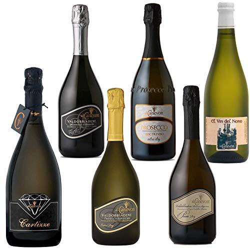 Super Offerta Degustazione - Vini e Prosecchi Al Canevon - Premiati Valdobbiadene Veneto - Miglior Prosecchi Italiani - 6x0,75Ml