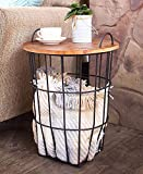 Side Table with Wood Top Storage Basket   end Table   Side Table   Coffee Table