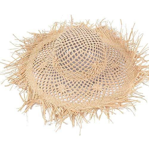 Sonnenhut Hut Handgewebte Hohle Raffia Hut Frau Breite Krempe Strand Hüte Uv-Schutz Freundin Weihnachtsgeschenk