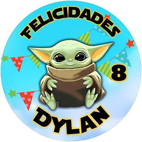OBLEA de Baby Yoda Personalizada con Nombre y Edad para Pastel o Tarta, Especial para cumpleaños, Medida Redonda de 20cm de diámetro