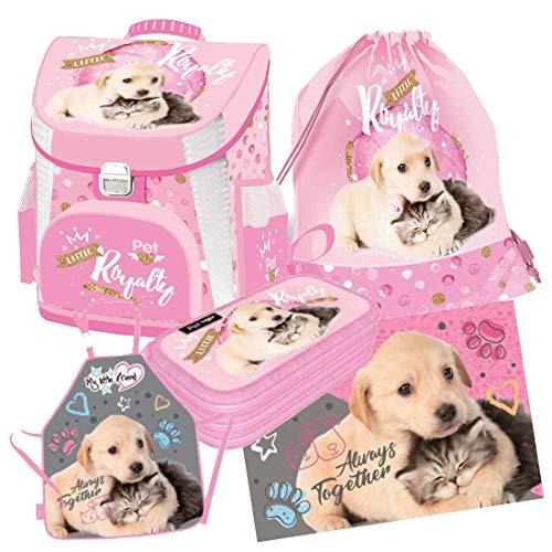 Katze Hund Cat Dog Schulranzen RANZEN Tornister 5 Teile Set Tasche Federmappe 3f mit Sticker von Kids4shop