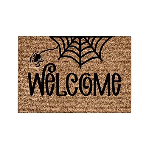 Felpudo Coco Natural 60x40 cm Halloween Antideslizante Alfombra, Felpudo de Coco Cartel Welcome, Felpudo Absorbente Entrada casa, Ideal para Exterior o Interior 2021