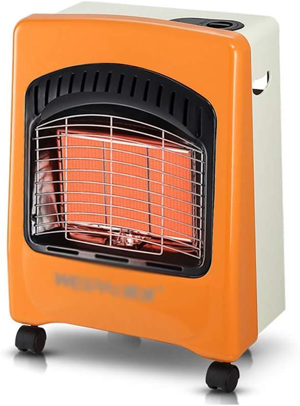 SHENXINCI Estufa Catalitica con Ignición Piezoeléctrica,Estufa Portátil con Ruedas 4200 W, Sistema Antivuelco ODS, Blanco y Naranja